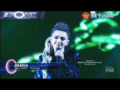 "Zhavia sings ""Man Down""  Rihanna cover (vs Evvie McKinney )  with her boots off The Four Finale"