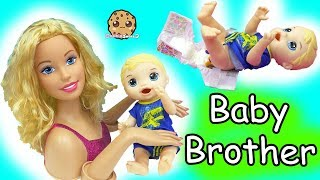 Barbie Baby Brother  Babysitting Baby Alive Boy Feed, Changing Diaper,