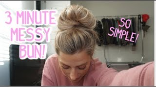 HOW TO EASY AND FAST MESSY BUN TUTORIAL! Short & Medium Length Hair!
