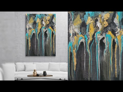 Abstract like professional artist! Acrylic|abstract art| texture art|demo|goldleaf|black|teal|