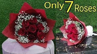 7 Roses  Arrange Flowers Bouquet. || Flower Wrapping Techniques || Flower Bouquet  Arrangement