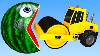 Learn Colors with PACMAN and Heavy Construction Trucks Farm Watermelon Street Vehicle for Kid