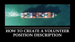 How to Create a Volunteer Position Description