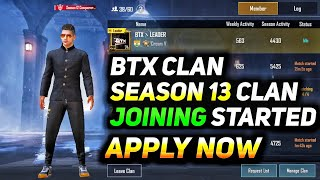HOW TO JOIN BTX CLAN IN PUBG MOBILE | SEASON 13 REQUIREMENTS