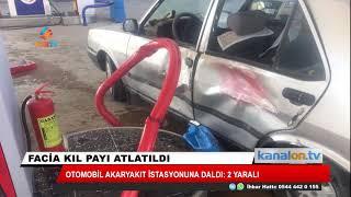 Konya'da facia ucuz atlatıldı! Otomobilin akaryakıt istasyonuna çarpması güvenlik kamerasında
