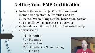 Getting your PMP -  Application and Experience Examples
