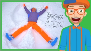 The Blippi Snow Angel | Winter fun for Children