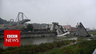 Italy bridge: Moment of Genoa motorway collapse - BBC News
