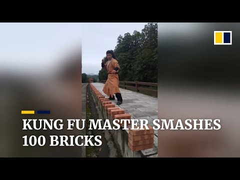 Kung Fu Master Chops 100 Bricks in Under a Minute