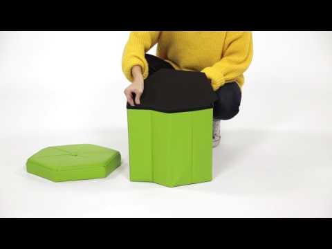 Grüner Sitzhocker mit Stauraum