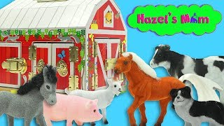 What farm animals are hiding behind the barn doors?