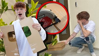 CUTTING MY EX GIRLFRIEND'S 1 MILLION PLAQUE AND GIVING IT TO HER!