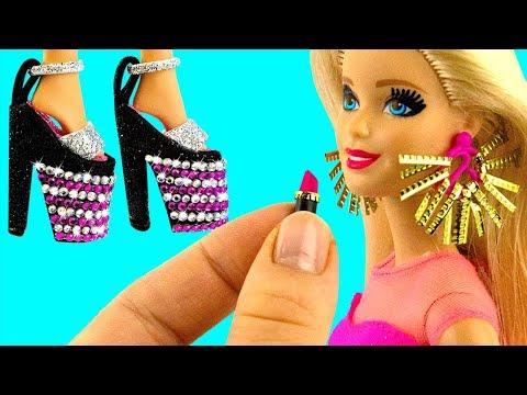 13 DIY BARBIE HACKS ~ Miniature Earrings, Hand Bags, Lipstick, Shoes, Mirror AND MORE!