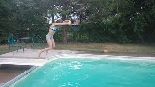 Dive fail!! Little girl tries diving for the first time