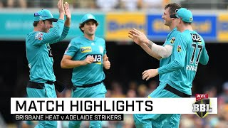 Brisbane Heat claimed a seven-wicket victory over Adelaide Strikers as AB de Villiers impressed in his much-anticipated maiden BBL appearance, while James Pattinson and Matthew Renshaw also starred