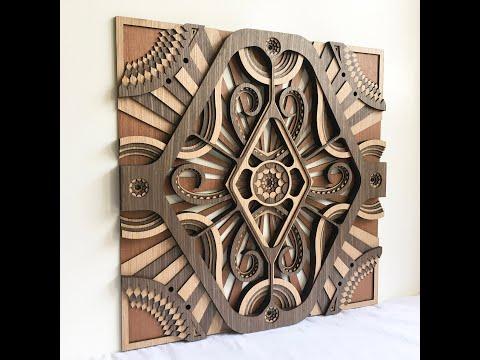 Modern Wall Hangings / Square - Hypnotic Shapes (Wood Wall Hang Decor, Layered Mandala)