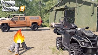 DEEP WOODS CAMPING IN TENT! | CHEVY DURAMAX + CANAM | FARMING SIMULATOR 2019