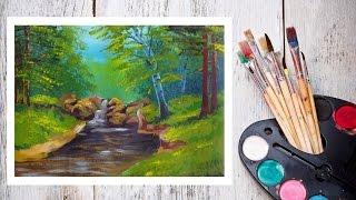 Смотреть онлайн Рисуем гуашью: летний пейзаж, летний ручей