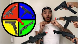 Spin The Wheel Challenge with BB Guns