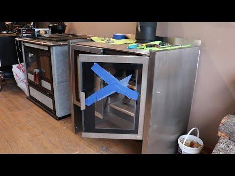 Firebelly Razen Wood Cook Stove - Replacing the Door Glass with Door Installed