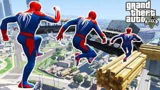 Homem Aranha com Heróis! Desafio de Parkour na Aéreo na Cidade - GTA V Mods