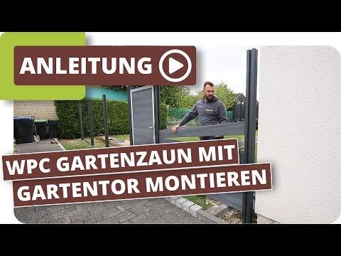 WPC Gartenzaun Sichtschutzzaun mit Gartentor montieren