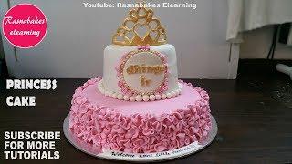 Princess First Birthday Cake For Girls Gold Crown Tiara Topper Pink Dress Design Ideas Decorating