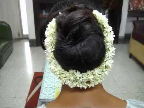A Low Bun Hairstyle With Jasmine Garland Womens Pride Indian