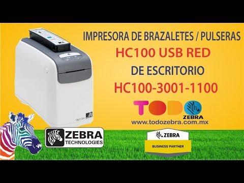 Impresora de Brazaletes ZEBRA HC100 TD USB RED Pulseras