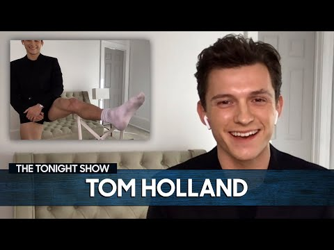 Tom Holland Shows Off His Viral Pants-less Look for Virtual Interviews   The Tonight Show