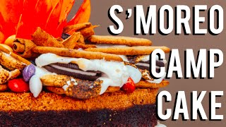 How To Make A S'MOREO CAMPFIRE CAKE! Chocolate cakes, frosting, S'MORES, and OREOS!