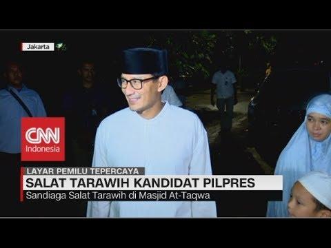 Jokowi Salat Tarawih di Bogor, Sandiaga Uno di Jakarta