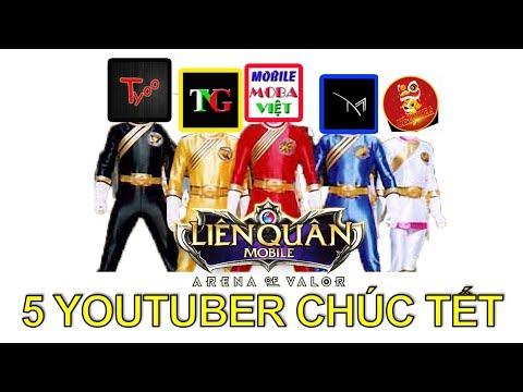 Biệt đội siêu nhân gao 5 youtuber liên quân mobile chúc tết Giftcode tết 2019