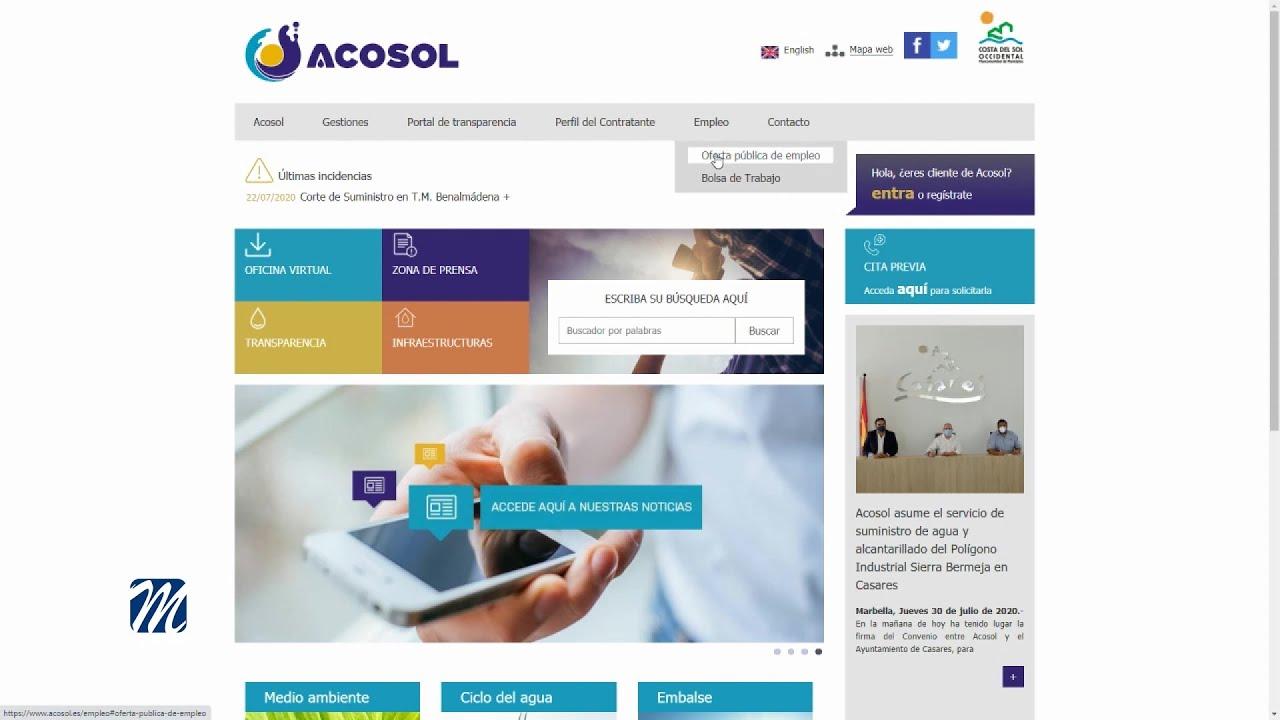 Acosol convoca proceso selectivo para plazas de laboral indefinido