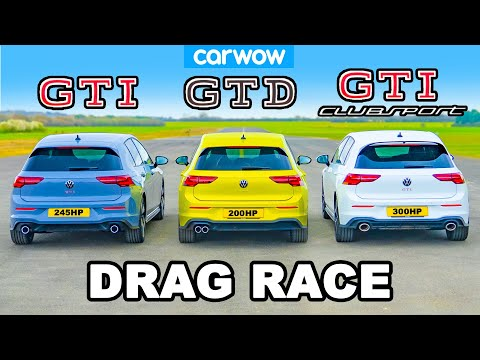 VW Golf GTI v Clubsport v GTD: DRAG RACE