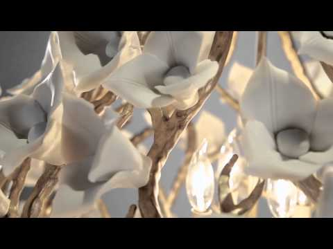 Video for Lily Enchanted Silver Leaf 32.5-Inch Eight-Light  Pendant