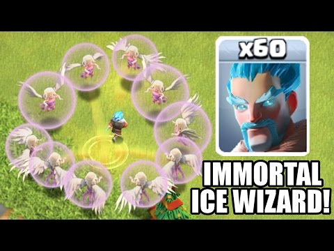 Video Clash Of Clans - IMMORTAL ICE WIZARD!! - 1 Ice Wizard All Healers! - Update / New Troop Gameplay!