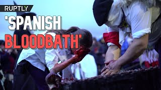 SZOK!!!! [DISTRESSING] Revellers smear animal blood on themselves for Basque carnival in Spain
