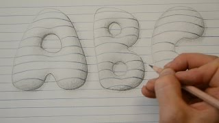 Draw 3D Style Bubble Letters - Notepad Art
