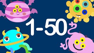 Number Counting 1 to 50 | Number Monster | Kids Numeracy
