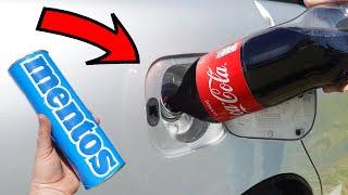 Experiment: COCA COLA vs MENTOS in CAR fuel tank