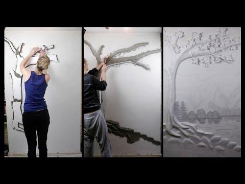 Baum an die Wand modellieren und Landschaft malen | Kunstfieber