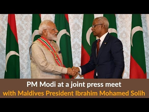 PM Modi at a joint press meet with Maldives President Ibrahim Mohamed Solih