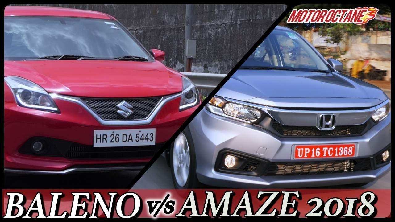 Motoroctane Youtube Video - Honda Amaze 2018 vs Maruti Baleno Comparison in Hindi | MotorOctane