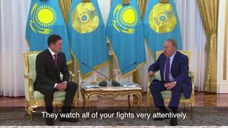 President Nazarbayev wishes success to Golovkin