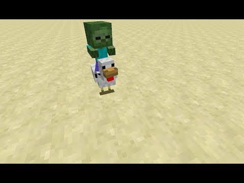 Minecraft how to summon a chicken jockey (baby zombie riding a chicken)