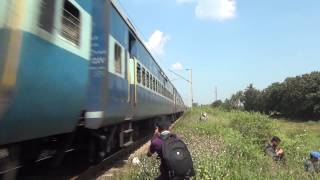 TOO CLOSE FOR COMFORT TO A HIGH SPEEDING TRAIN - INDIAN RAILWAYS !!!!