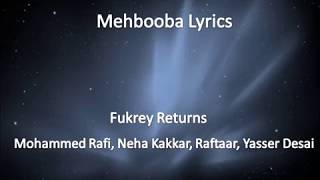 mehbooba (lyrics/lyrical video) - YouTube