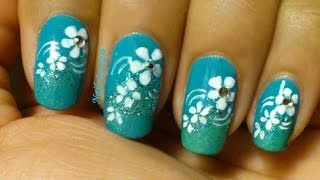 Easy Floral Gradient Nail Art