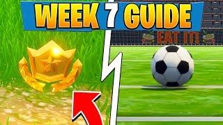 WEEK 7 CHALLENGES GUIDE! | Score a GOAL, Treasure Map! ( Fortnite Tips )